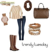 Neutrals, Elbow Patches, Leopard Scarf, Boots and Cozy sweater. What's not to love!