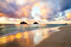 Sunset reflection in the ocean backwash on lanikai beach