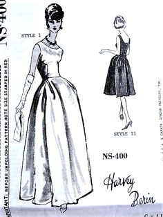 1960s BEAUTIFUL Evening Gown or Cocktail Party Dress Pattern SPADEA 400 Classy Jackie Kennedy Style Harvey Berin Designer Bust 34 Vintage Sewing Pattern FACTORY FOLDED