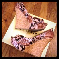 """Faux snakeskin wedge -  sz. 9 The """"Faith"""" brown/beige snakeskin print shoes with cork wedge heels, size 9, peep toe, 5&1/4"""" heel height and 1&1/4"""" platform. Purchased through Shoe Privee. Worn a few times but in great condition! Very comfortable as well... Liliana Shoes Wedges"""