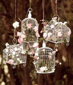 hanging flowered birdcages decor