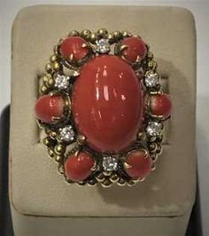 A Large 14k Coral & Diamonds Ring