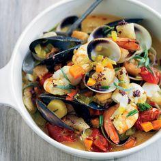 Saffron Shellfish Stew with Black Olive Croutons Recipe - Barbara Lynch | Food & Wine