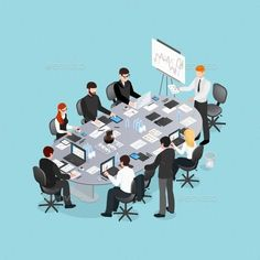 Buy Office Conference Isometric Design by macrovector on GraphicRiver. Office conference isometric design with speaker near board and participants behind table on blue background vector il. Isometric Map, Isometric Design, Design Isométrico, Vector Design, People Illustration, Graphic Design Illustration, Illustrations, Creative Studio, Plan Drawing