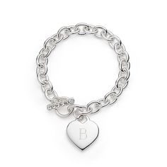 Silver Plated Heart Link Bracelet With Box - The Knot Shop