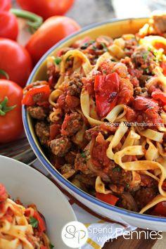 Italian Sausage Linguine with Roasted Tomato Sauce FoodBlogs.com