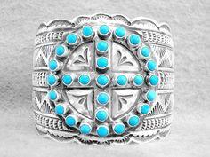 Navajo Bracelet Turquoise 4 Directions  Sunshine Reeves Sterling Silver XXLG V