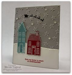 Be Creative with Nicole: Holiday Home for CCMC328 Christmas card featuring Holiday Home and Lucky Stars Embossing Folder.