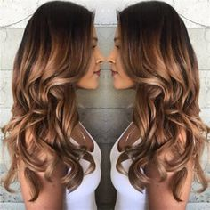 25 Best Hairstyle Ideas For Brown Hair With Highlights: brown hair with golden ombre