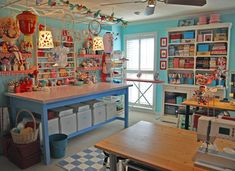 Sewing and craft room belonging to Jenny B. Harris.  She is a fun and crafty artist, crafter, illustrator.  Her blog is so fun to visit.  allsorts.typepad.com