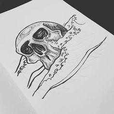 Caught in a sea of trouble :skull:  #nakedeyestudio  #sketch #sketchbook #drawing #ink #inktober #inktober2016 #skull #ghouls #gothicart