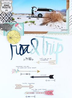 Papercrafting ideas: scrapbook layout idea. #papercraft #scrapbooking #layouts.  Road Trip by SteffiandAnni at @studio_calico
