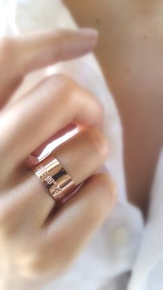 Rose Gold Coordinates Ring  Rose Gold Band  by GoldCrushJewelry