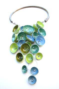 Necklace |  Karen Gilbert.  Enamel (great inspiration for Polymer Clay artists)