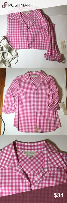 Cute Pink Gingham JNY Sport Button Down Great shirt for work or a nice outing with some pink shorts! Roll up sleeves and roll down. Never worn, perfect condition. Open to reasonable offers! Jones New York Tops Button Down Shirts