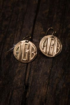 Bronze Monogram Earrings.  Southerners will monogram anything that sits still long enough.  BourbonandBoots.com