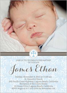 Elegant Cross Boy Baptism Invitation