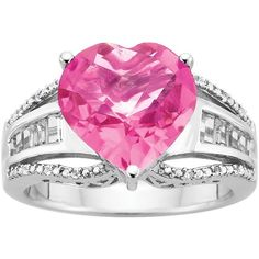 Created Pink Sapphire Heart Ring in Sterling Silver ($114) ❤ liked on Polyvore featuring jewelry, rings, pink, pink heart shaped ring, heart ring, sterling silver rings, band rings and baguette ring