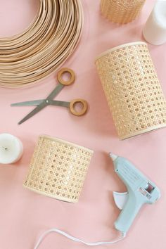 How to Make a Caned Candle Holder – A Beautiful Mess – Diy Poject Ideas Diy Craft Projects, Diy And Crafts, Diy Candle Holders, Diy Candles, Beeswax Candles, Diy Décoration, Easy Diy, Beautiful Mess, Decoration