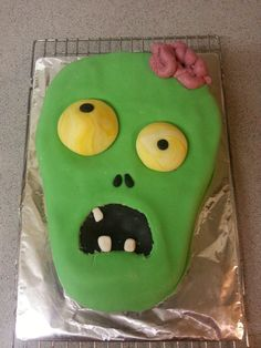 Zombie Cake - this is a cartoon style zombie as it was for a child's birthday. Not too scary!