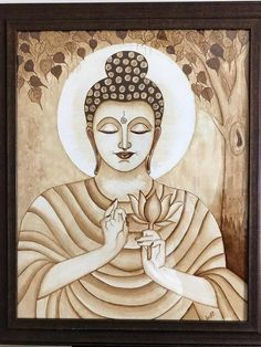 coffee painting Here is our Art Gallery presenting - coffee Budha Painting, Kerala Mural Painting, Indian Art Paintings, Buddha Artwork, Buddha Wall Art, Buddha Wall Painting, Painting Walls, Painting Wallpaper, Painting Art