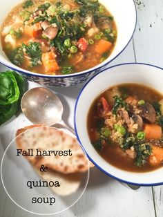For this soup, I harvested my last veggies , tossed in quinoa for added proteins, and voilà, you get a delicious, easy, healthy, gluten free soup/meal for any day of the week. Best Soup Recipes, Vegetable Soup Recipes, Healthy Soup Recipes, Chili Recipes, Easy Dinner Recipes, Vegetarian Recipes, Easy Meals, Supper Recipes, Healthy Drinks