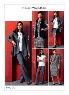 Vogue Patterns V9215. MISSES' SHAPED-HEM JACKET AND VEST, TOP, DRESS, MOCK-WRAP SKIRT, AND PANTS