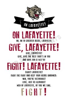 Lafayette Fight Song Print
