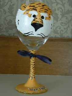 Painted Tiger on Wine Glass Tailgating Auburn. $19.50, via Etsy.