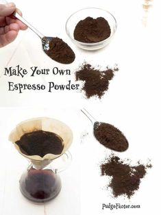Make Your Own Espresso Powder If you do much baking with chocolate, you probably know that many recipes call for a small amount of espresso powder. Now you can make your own! Espresso Shot, Espresso Drinks, Espresso Powder, Espresso Coffee, Coffee Coffee, Italian Espresso, Coffee Break, Morning Coffee, Coffee Blog
