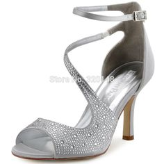 Summer Sandals Woman Sexy Silver Ankle Strap High Heel Bling Rhinestone  Satin Bride Bridesmaid Pumps Bridal Wedding Shoes HP1505-in Women s Sandals  from ... 799f3ef6bd61