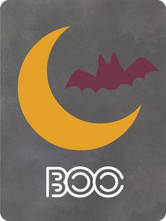 free downloadable journaling card   boo, moon, bat, Halloween, October   Paper Crafts & Scrapbooking magazine