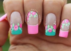 Instagram Image Rose Nails, My Nails, French Tip Nails, Flower Nail Art, Cute Nail Art, Perfect Nails, Simple Nails, Nail Arts, Nails Inspiration