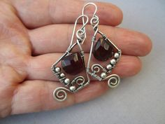 Silver Wire Earrings with Brown Chalcedony Briolettes/ by mese9