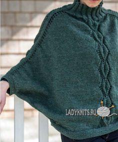 Вязаный спицами свитер - пончо Kombu от Berroco, описание и схема