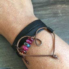 Bracelet, faux leather and copper with indian agate. Heart jewelry, beautiful color bracelet.