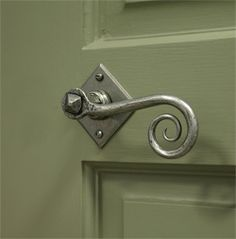 Blacksmith Pewter Patina Monkeytail Lever Door Handle on Diamond Rosette