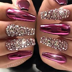 Bling Acrylic Nails, Best Acrylic Nails, Rhinestone Nails, Bling Nails, Coffin Nails, Fabulous Nails, Perfect Nails, Gorgeous Nails, Pretty Nails