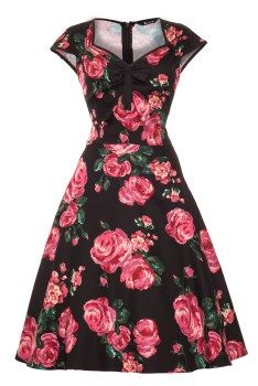 Black and Pink Rose Isabella Dress : Lady Vintage - £45. Made in London. Available in Sizes 8-20/22.