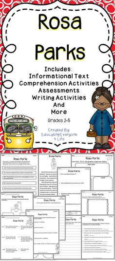 Rosa Parks - This supplemental Rosa Parks resource includes engaging no-prep activities for the classroom. This resource includes reading and writing lessons all about Rosa Parks.