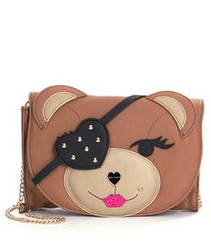 Betsey Johnson CRAY CRAY CREATURES BEAR CLUTCH BJ53975 SPICE, Studded Eye Patch #BetseyJohnson #Clutch