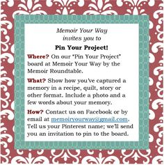 We invite you to share your memoir projects on this collaborative site. Your project is sure to inspire others.