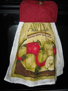 KITCHEN TOWEL Apples Red and Green cup towel pot holder wash