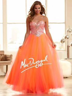 Neon Orange Ball Gown | Lace Up Corset Prom Dress | Mac Duggal 48251H