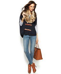 MICHAEL Michael Kors Faux-Fur Sweater Vest, Long-Sleeve Top & Skinny Studded Jeans - MICHAEL Michael Kors - Women - Macy's