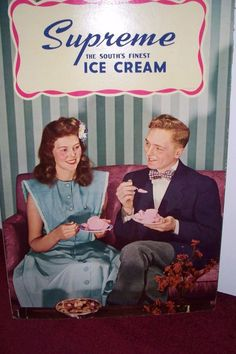 Vintage Large  Supreme Ice Cream Heavy cardboard  Sign  1948