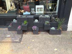 Breeze block planters on Marylebone High Street!