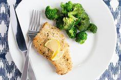 Recipe: Parmesan-Crusted Baked Cod - Parmesan and panko - yum! Supper Recipes, Entree Recipes, Fish Recipes, Cooking Recipes, Seafood Recipes, High Protein Recipes, Low Calorie Recipes, Healthy Recipes, Healthy Foods