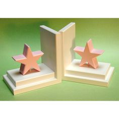 Pastel Pink Star Bookends with White Base - BG00036612