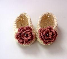 Cream and Pink Crochet Baby Slipper. £7.50, via Etsy.